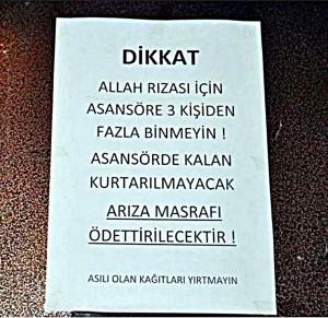 """Site kültürü ve asansör kuralları. """"Allah rızası için asansöre üç kişiden fazla binmeyin"""""""